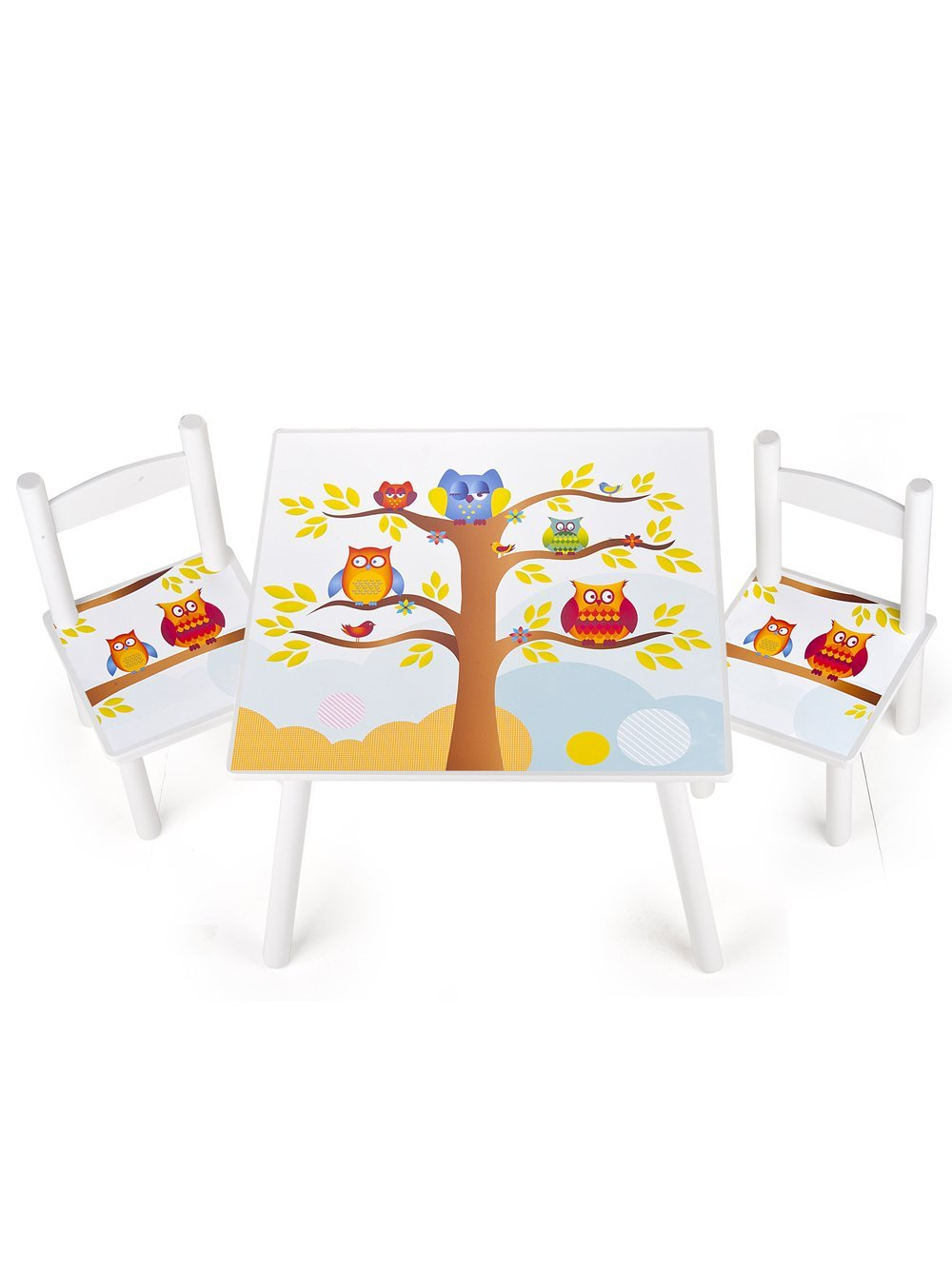 table et 2 chaises enfant motif hiboux leomark fr. Black Bedroom Furniture Sets. Home Design Ideas